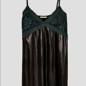 Zare Black Green Faux Leather Lace Dress